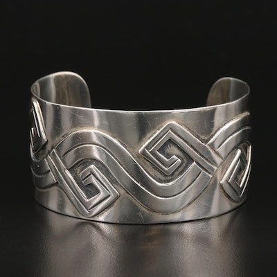 Taxco Sterling Silver Wave Motif Wide Cuff