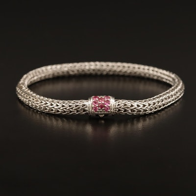 "John Hardy ""Classic Chain"" Sterling Silver Bracelet with Spinel Accent"