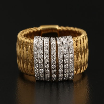 """Roberto Coin """"Silk Weave"""" 18K Ring with Articulated Diamond Detail"""