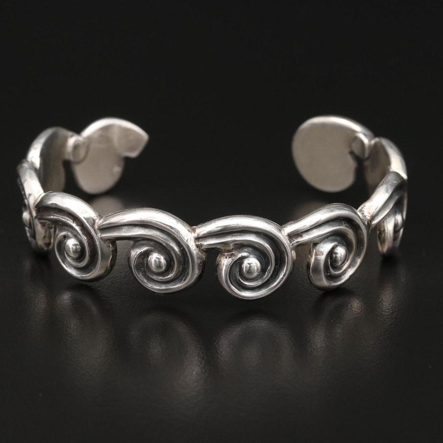 Los Castillo Sterling Silver Swirl Cuff