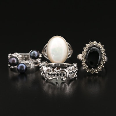 Sterling Silver Rings Featuring Pearl, Mother of Pearl, Black Onyx and Marcasite