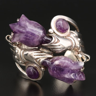 Vintage Rancho Alegre Sterling Silver Carved Amethyst Cuff