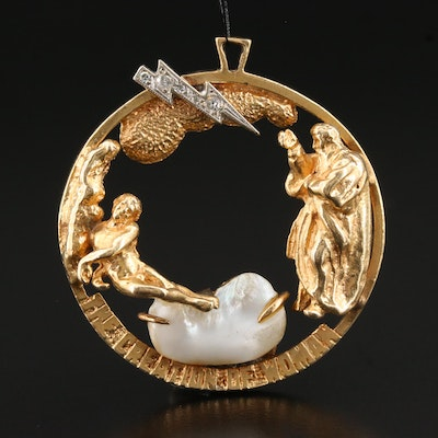 "Vintage Andrew Gates 14K Diamond and Pearl ""Creation of Adam"" Brooch"