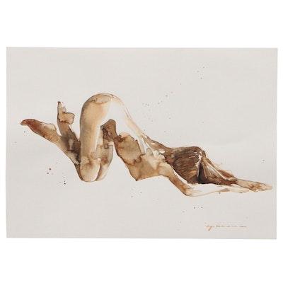 Inga Khanarina Figure Watercolor Painting of Female Nude