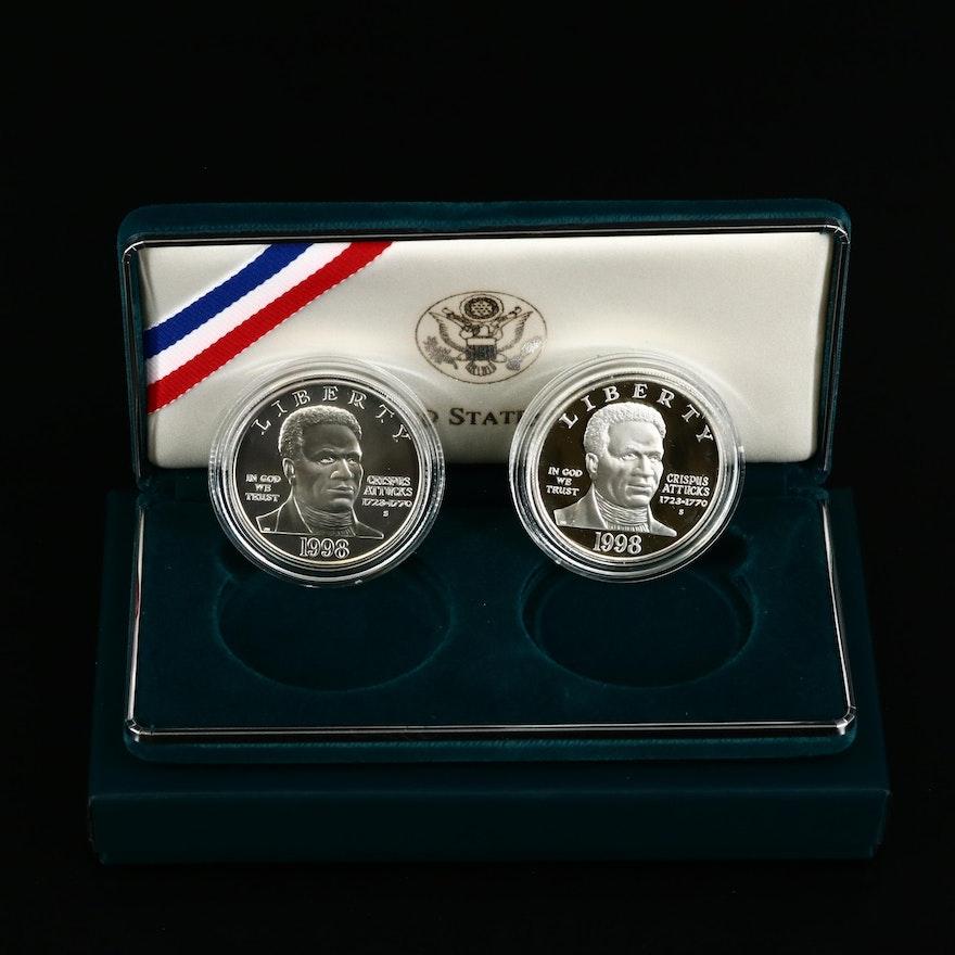 1998-S Black Revolutionary War Patriots Two-Coin Commemorative Set
