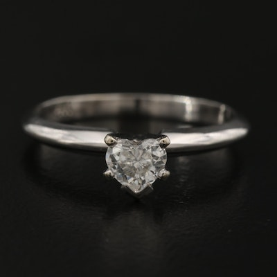 14K 0.40 CT Diamond Solitaire Heart Ring