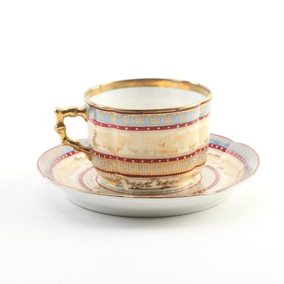Austrian Hand-Decorated Porcelain Teacup and Saucer