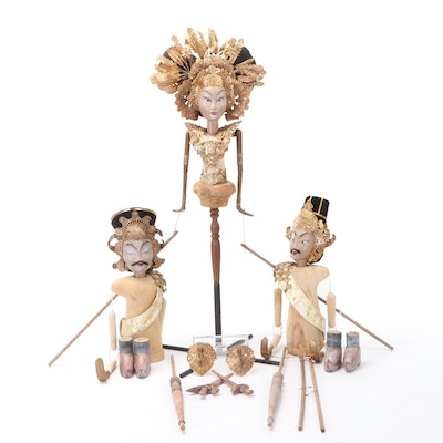 Indonesian Wayang Golek Puppet and Components