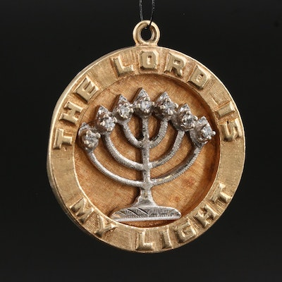 Vintage 14K Menorah Pendant with Diamond Accents