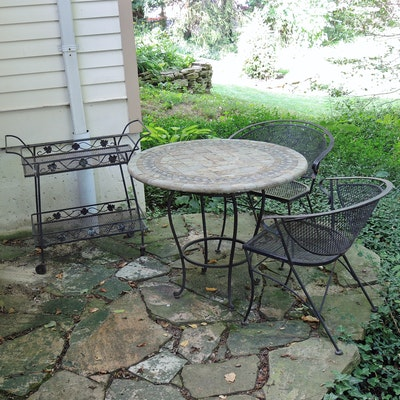 Mosaic Stone Top Patio Table with Wrought Metal Mesh Chairs and Tea Cart