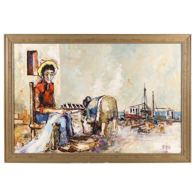 Young Boy and Mother Working on Coast Oil Painting