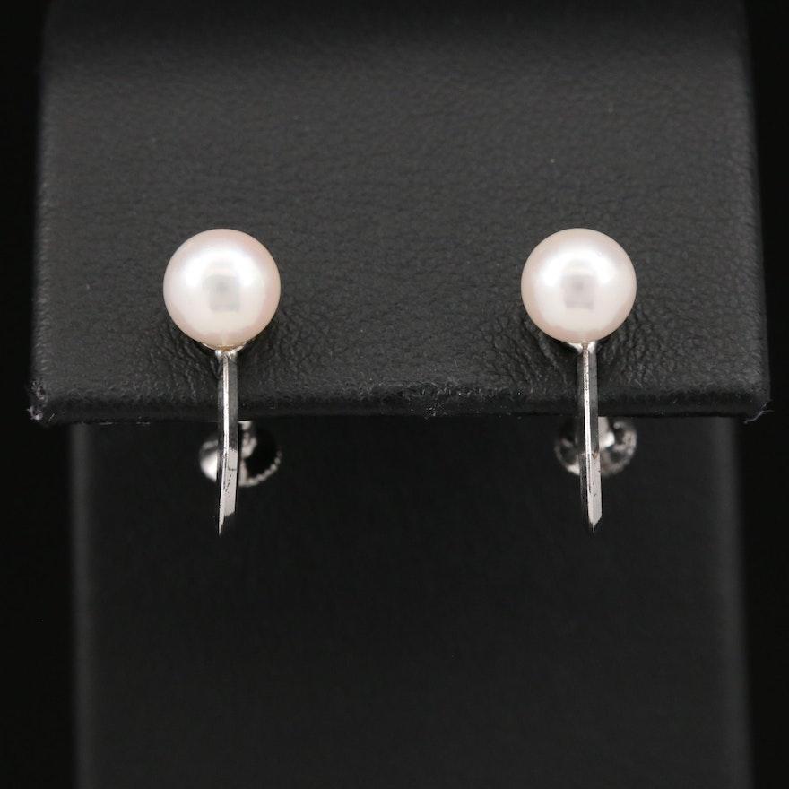 Vintage Screw Back Sterling Silver Pearl Earrings