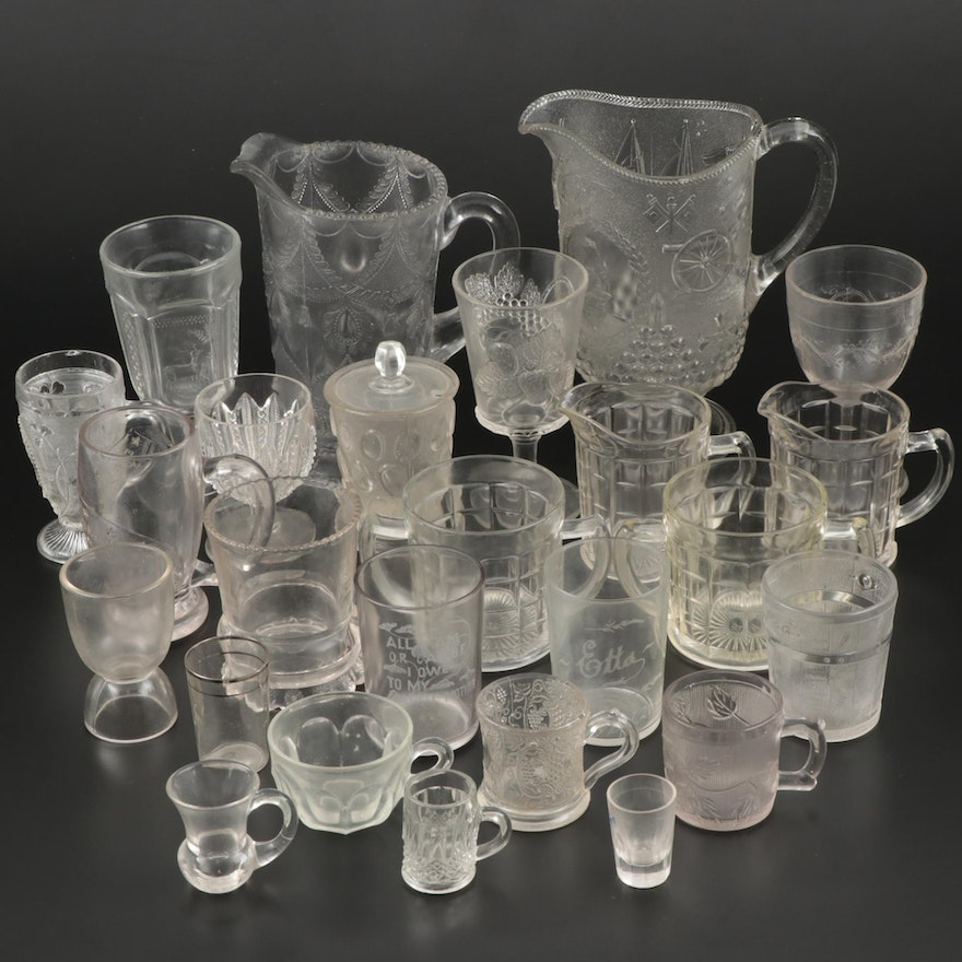 """Hazel Atlas """"Colonial Block"""" Creamers and Other Pressed Glass Serveware"""