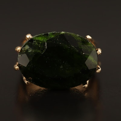 14K Oval Diopside Ring