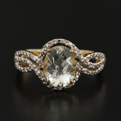 Sterling Silver Prasiolite and Diamond Oval Ring