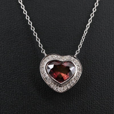 Sterling Silver Sapphire and Diamond Heart Pendant Necklace