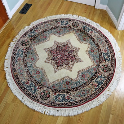 5' Round Hand-Knotted Persian Kerman Accent Rug