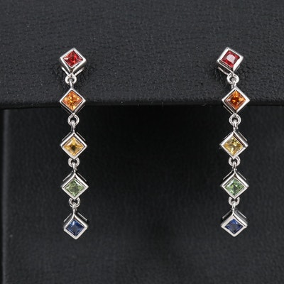 Sterling Silver Sapphire Rainbow Dangle Earrings