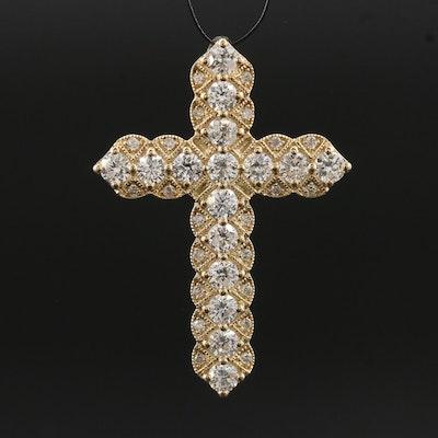 14K 1.25 CTW Diamond Cross Slide Pendant