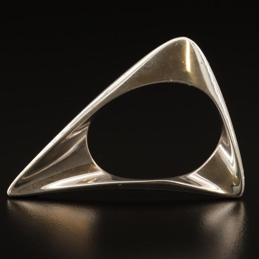 Danish Modernist Georg Jensen Sterling Silver Triangular Brooch