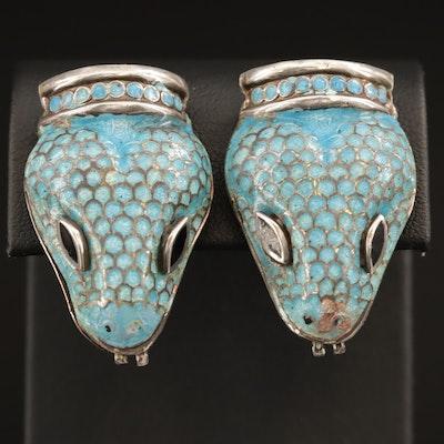 Vintage Jaime Quiróz Sterling Cloisonne Enamel Snake Head Clip-On Earrings