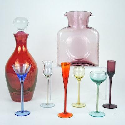 Blenko Amethyst Glass Pitcher, Glass Decanter, and Cordials