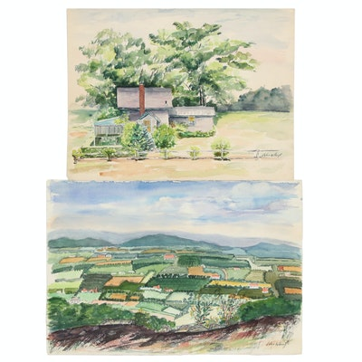Watercolor Paintings Attributed to John Whorf, Mid-20th Century