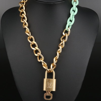 Louis Vuitton Lock and Key on Curb Chain Necklace