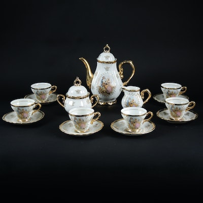 Courting Couple Design Tea Set With Gilded Accents, Mid-20th Century
