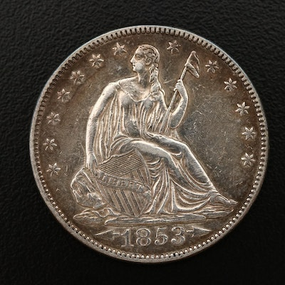 1853 Liberty Seated Silver Half Dollar, Arrows & Rays Variety
