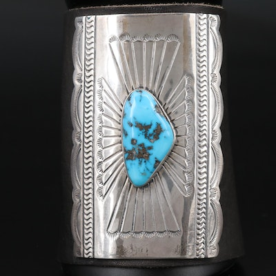 Signed Western Sterling Silver Turquoise Bracer