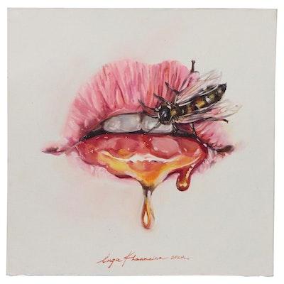 Inga Khanarina Oil Painting of Bee on Flower