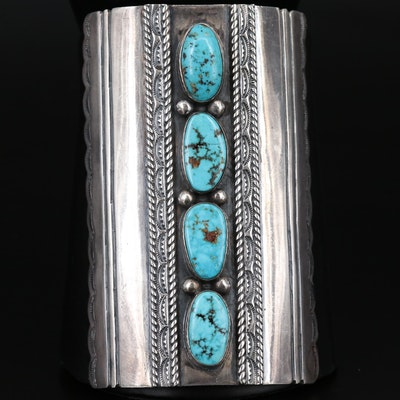 Western Sterling Silver Turquoise Bracer