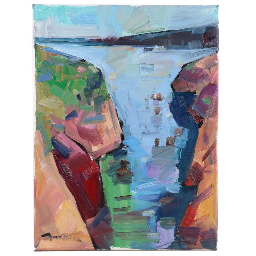 """Jose Trujillo Oil Painting """"Harbor Light"""", 2020"""