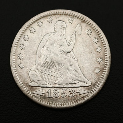 1853 Liberty Seated Silver Quarter, Arrows & Rays Variety