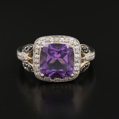 Sterling Amethyst and Diamond Ring with Black Diamond Accents
