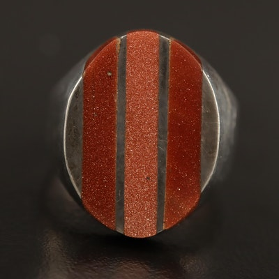 Mexican Sterling Sunstone Glass Inlay Ring