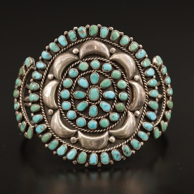 Western Sterling Turquoise Petit Point Cuff