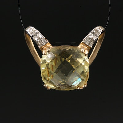 14K Citrine and Diamond Slide Pendant