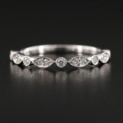 14K Diamond Band with Milgrain Detailing
