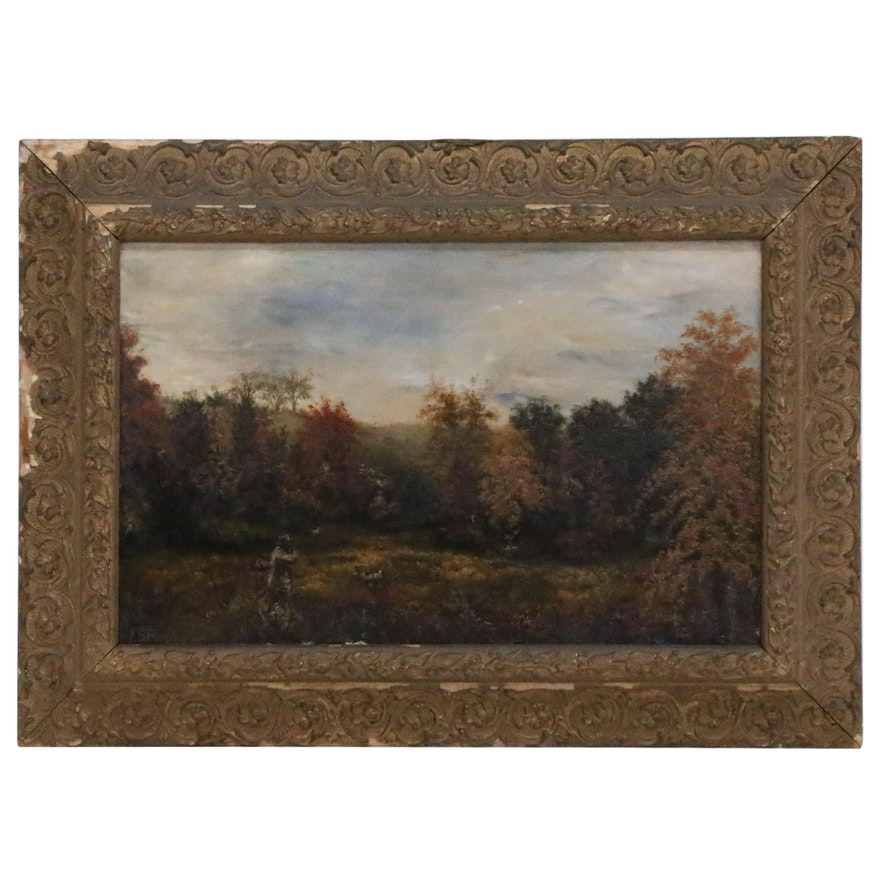 Oil Painting of Autumn Hunting Scene, Early 20th Century