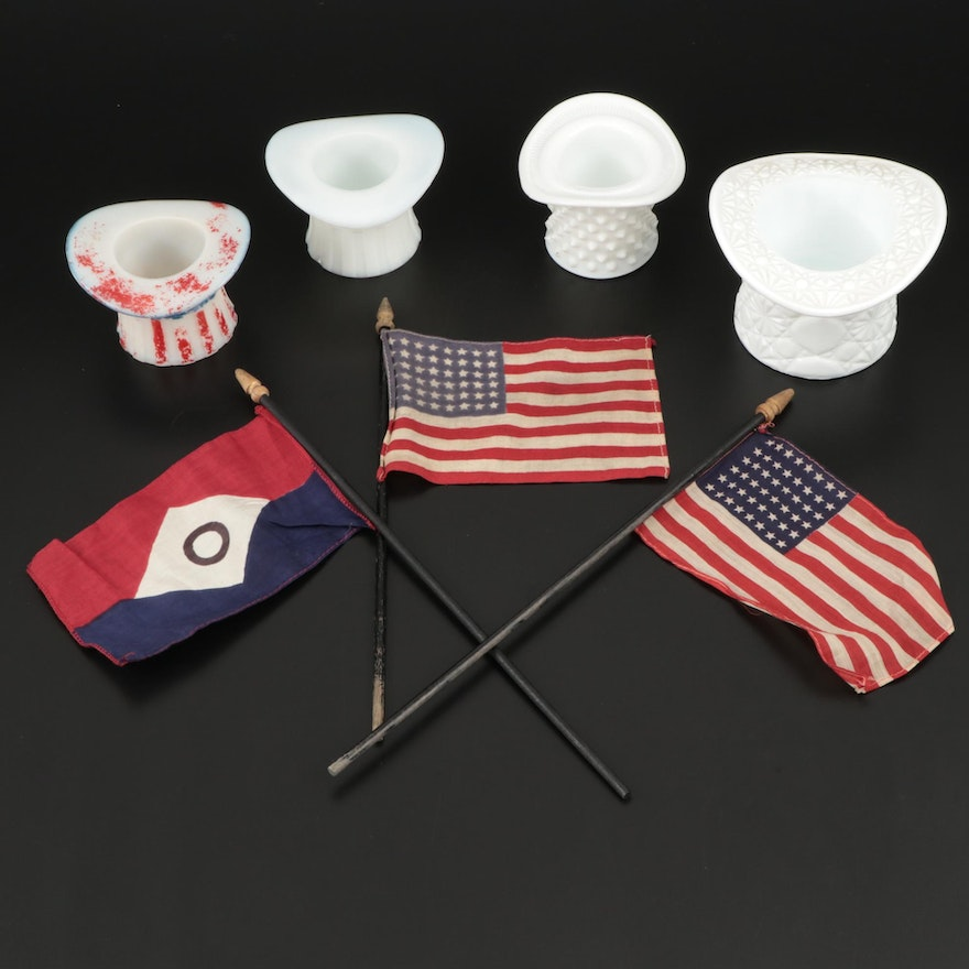 """Fenton """"Daisy and Button"""" and Other Milk Glass Toothpick Holders and Flags"""