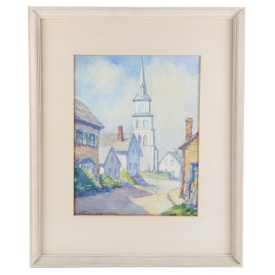 Church and Village Street View Watercolor Painting