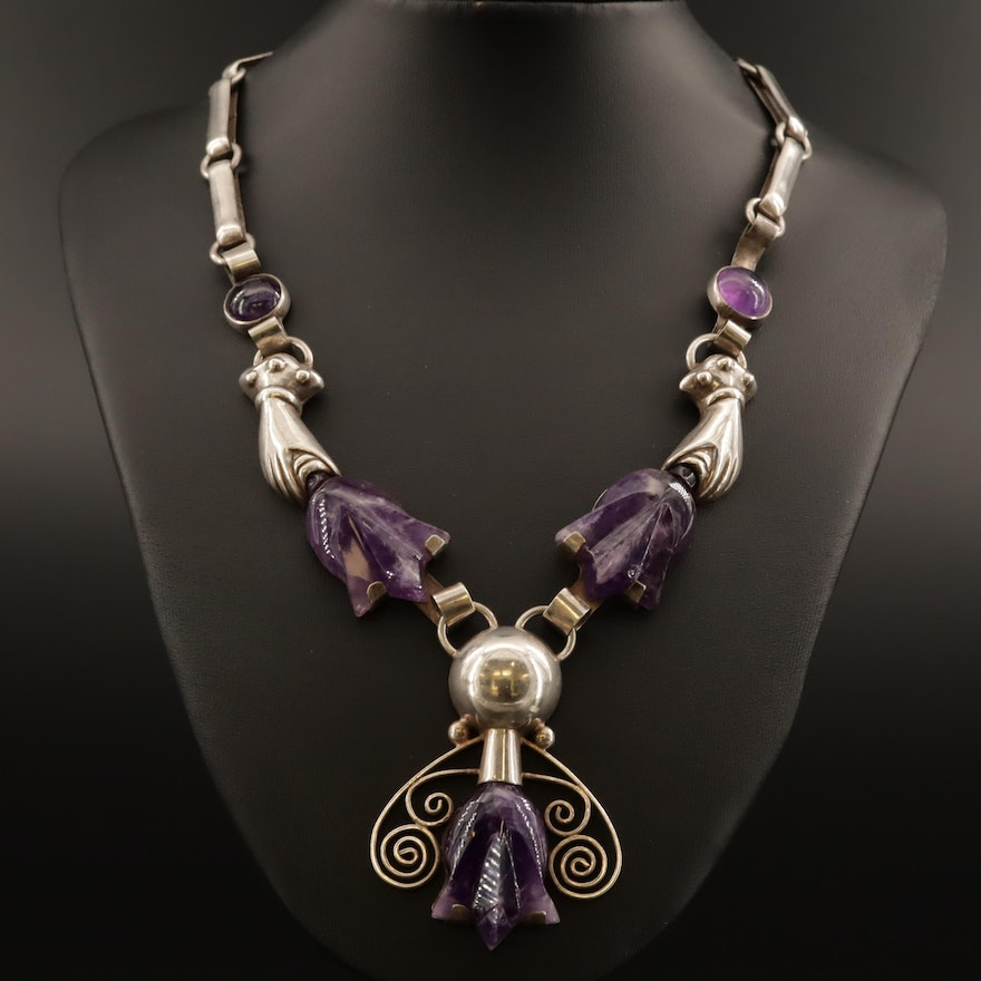 Taxco R Rivera Sterling Carved Amethyst Necklace