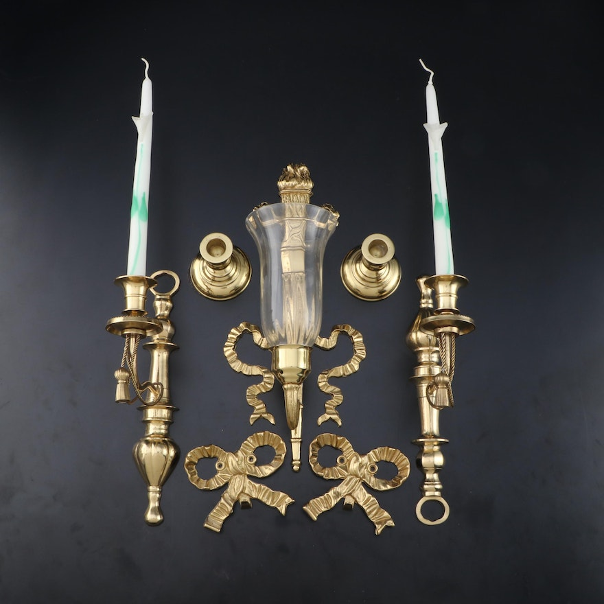 The Bombay Co. Brass Torch Sconce, Virginia Metalcrafters Candlesticks and More
