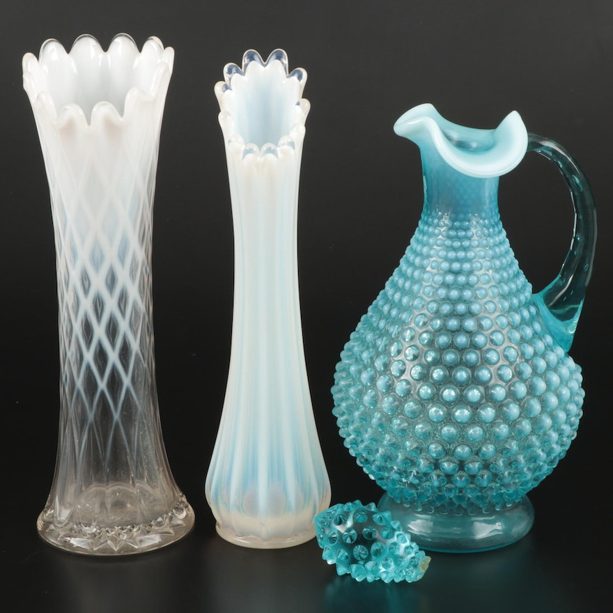Opalescent Blue Hobnail Decanter with Opalescent White Vases, Mid-20th Century