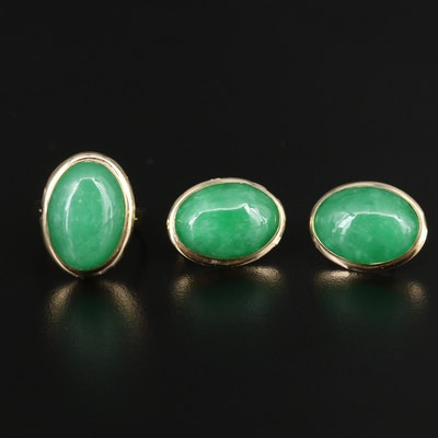 14K Jadeite Cabochon Earrings and Ring