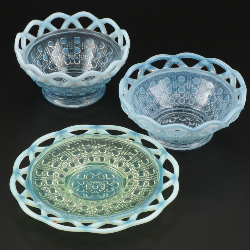 "Imperial Glass Co. ""Sugar Cane"" Blue Opalescent Laced Edge Bowls and Plate"