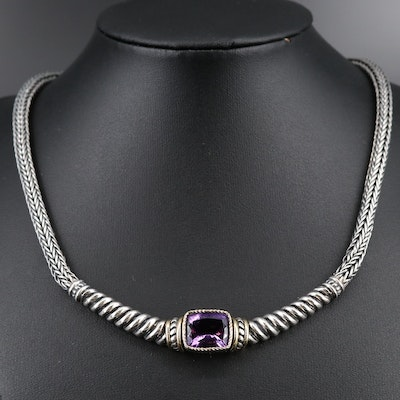 Sterling Silver Amethyst Necklace With 18K Accents