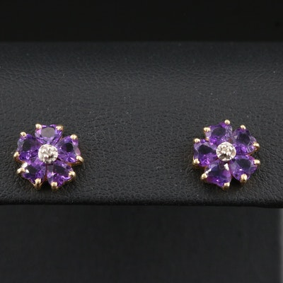 14K Amethyst and Diamond Flower Earrings